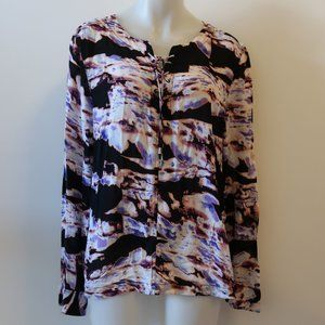 NWT WOMENS CALVIN KLEIN LACE-UP BLOUSE TOP XL *